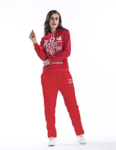 Sitengle Damen 2pcs Sportanzug Kapuzenpullover + Hose mit Weihnachten Zeichen Hirsch Jogging Trainingsanzug Suits Christmas Xmas Festtag Rot