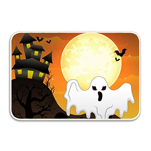 h Flying Ghost and Pumpkin Rectangular Doormat Funny Easily Fold Memory Foam Floor Mats for Home 15.7x23.6 inch/40x60cm ()