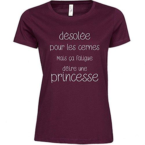 T-shirt Unik Femme-Désolée pour les cernes mais ca fatigue d'etre une princesse Blanc