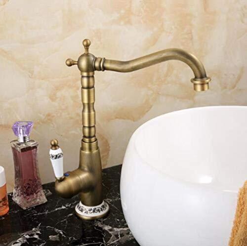 Burgund-gold-finish (XiaoHeJD Küchenarmaturen 360 Swivel Antik Messing Porzellan Mischbatterie Bad Becken Mischbatterie Antik Wasserhahn, Burgund)