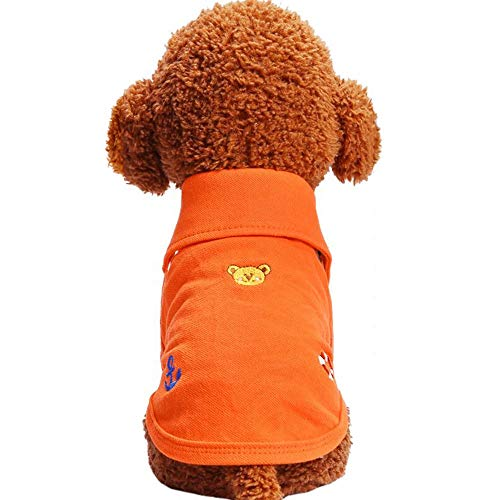 FANCYKIKI Sommer-Haustier-Kleidungs-Welpen-Kleidungs-Farben-Hundet-Shirt Polo-Hemd ultradünne Atmungsaktivität (Farbe : Orange, Size : M) -