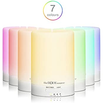 Ultrasonic Aroma Diffuser and Humidifier with 7 Colour Changing LED Lights. Aromatherapy Mist for Home, Office and Spa