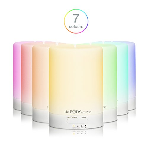 100ml Aromas Diffuser and Ultrasonic Humidifier with 7 Ledes that Change Color. Aromatherapy for Home, Office, Baby, Bath and Spa