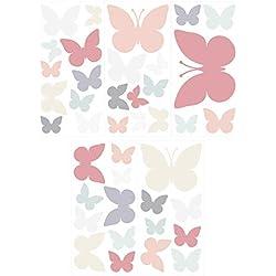 Wandtattoo Kinderzimmer Wandsticker Set Schmetterlinge in Zarten Pastellfarben