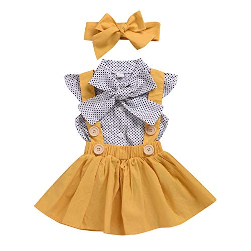 hen Polka Dot Fly Sleeve Top + Strap Rock Kleid + Bowknot Stirnband Sommer Kleidung Set ()