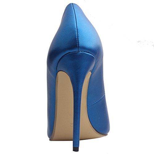 Calaier Femme Caelse Pointures Européennes 34-46 Aiguille 12CM Glisser Sur Escarpins Chaussures Bleu