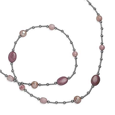Carolyn Pollack Sterling Silver Rhodonite Rhodochrosite Opal Freshwater Cultured Pearl Beaded 36 in. Necklace