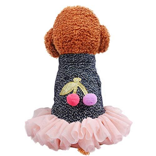Feinny Nouvelle Mode Jupe Cerise Pet Automne et Hiver Vêtements Pull-Overs Confortables pour Chiens et Chats Mignon Chaud Pet Robe À Capuche Gilet en Pull(M,Rose