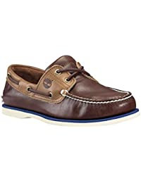 Timberland Classic Boat 2 Eyepotting Soil and Tan Two-Tone, Chaussures Bateau Homme, Marron