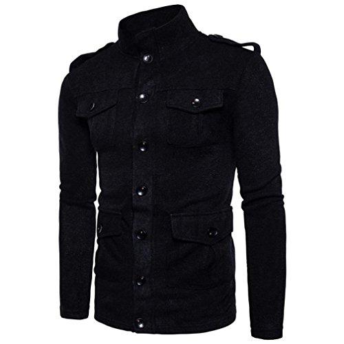 Malloom® Manteau d'hiver à col haut et cardigan pour hommes (Noir, XL)