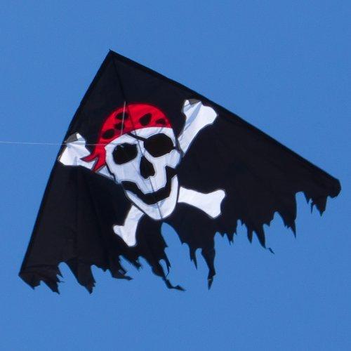 Preisvergleich Produktbild Einleiner-Drachen für Kinder - Delta Jolly Roger Black - inkl. Drachenschnur mit Handgriff