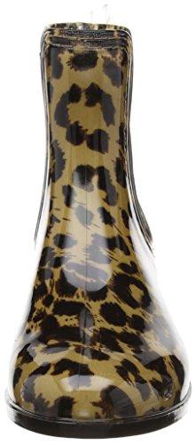 Caspar Bottes en caoutchouc brillant pour femme Noir/imprimé léopard Léopard