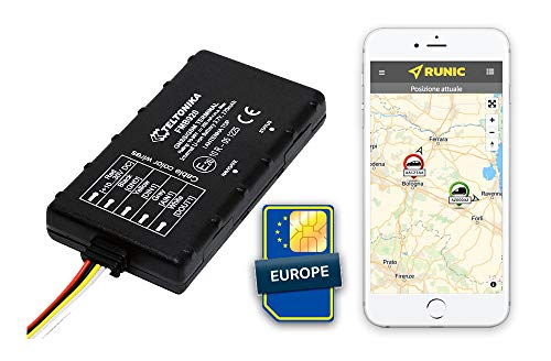 RUNIC.IO Localizzatore GPS Tracker con SIM card Europea per sicurezza Auto/Camion/Moto/Barca/E-Bike. Tracciatore GPS satellitare pronto all'uso, Servizio Cloud e App per monitoraggio veicoli