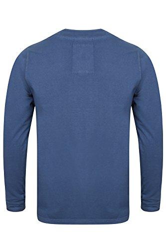 Herren Jersey Oberteil Tokyo Laundry langärmliges T-Shirt Y Hals Baumwolle Freizeit Indigo - 1u9615