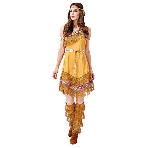 Frauen Erwachsenen Halloween Kostüm Indian Princess Tribal Goddess Bühnenkostüm (einschließlich Rock + Kopfbedeckung + Gürtel + Armband + Fußbedeckung),Gold,M