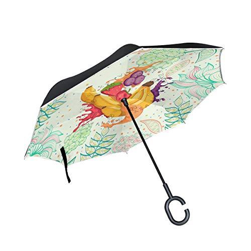 Blumenfrucht-Bananensaft Invertierter Regenschirm UV-Schutz Winddichter Umbrella Invertiert Schirm Kompakt Umkehren Schirme für Auto Jungen Mädchen Reise Strand Frauen