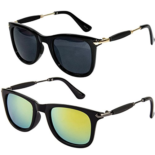 Combo Set of Fashion Wayfarer Goggle and Sunglasses Ideal for Men Women Boys and Girls (combo-wf-silver-stick-1802) Black and Green Golden Stick Wayfarer BB0SS