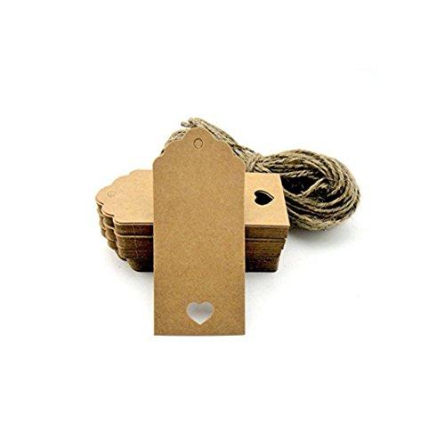 Shentian bigliettini di carta kraft da personalizzare, con cuore ritagliato, 100 pezzi, per confetti, regali, valige, prezzi, ecc., colore: marrone