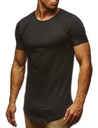 LEIF NELSON Herren T-Shirt Sommer Basic Kurzarm Shirt Top Sweatshirt Kapuzenpullover Rundhals Ausschnitt Rundkragen Crew Neck Sweater Slim Fit LN6368