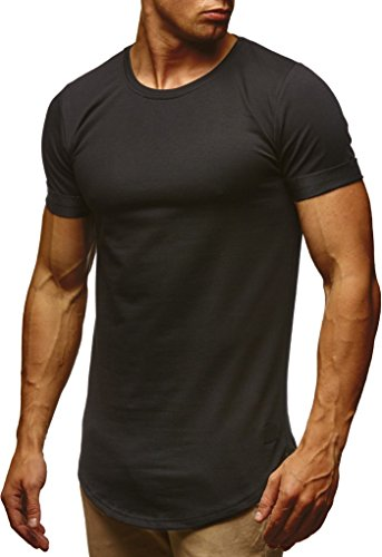 LEIF NELSON Herren Sommer T-Shirt Rundhals-Ausschnitt Slim Fit Baumwolle-Anteil | Moderner Männer T-Shirt Crew Neck Hoodie-Sweatshirt Kurzarm lang | LN6368 Schwarz X-Large