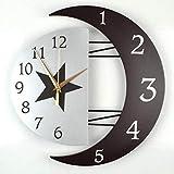 BOYI Wanduhren Wanduhr UhreEisen Plus Holzwanduhr Art Silent Quarzuhr Kreative Mondfoto-Rahmenuhr Größe: 31 cm * 32 cm / 39 cm * 41 cm (31cm*32cm, schwarzⅠ)