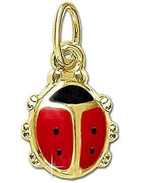 CLEVER SCHMUCK Goldener Anhänger Mini Marienkäfer rot und schwarz lackiert glänzend 333 GOLD 8 KARAT für Kinder