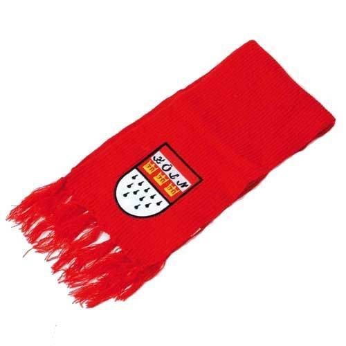 Strickschal Köln, rot, mit Fransen und Wappen