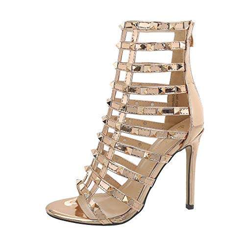 Ital-Design Damenschuhe Sandalen & Sandaletten High Heel Sandaletten Synthetik Rosa Gold Gr. 41 (Heels Damen High Gold)