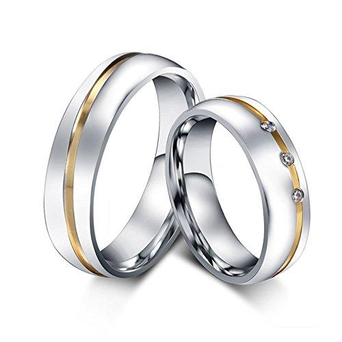 Blisfille Ring Weißgold Verlobungsring Ringe Damen Gold Herren Silber Titanring Gewölbt Zweifarbig Linie Doppelt Kreis Hoch Poliert Zirkonia Wedding Band Kostenlos Gravur 1 Paar Ringe Für Paare