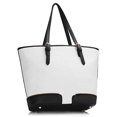 Meine Damen Umhängetaschen Frauen Große Designer Handtaschentoteschulterkunstleder Modische Taschen Promi Stil Kunstleder (D - Dark Nude) A - Schwarz/Weiß