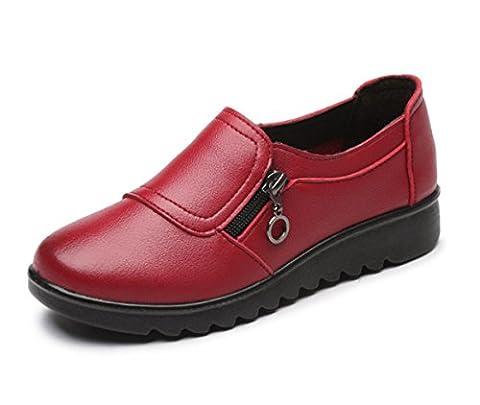 Dames Flats Single Shoes Loafer New Leisure Comfort Pompes en cuir verni Fond doux Noir Marron Rouge Automne Printemps Fête Travail , Red , EUR 37/ UK
