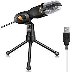 TONOR USB Microphone à Condensateur Professionnel Studio Podcast avec Support pour PC/Portable/Ordinateur/Skype/Mac/Enregistrement Noir