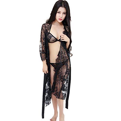 ZhengYue Damen Sexy Dessous Spitze Negligee Kurz Kimono Robe Set Nachtwäsche mit Gürtel und G-String Bikini Cover up (Roben ärmel 3 4)