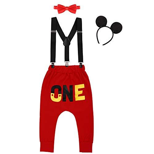 IWEMEK Baby 1. Geburtstag Kostüm Jungen Mouse Karneval Cosplay Outfit Hosenträger Lange Hosen mit Fliege Maus Ohren Stirnband 4pcs Bekleidungssets Fotoshooting Halloween 02 6-12 Monate