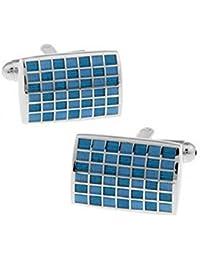 Hosaire 1 Par de gemelos rectangulares con estilo y elegante azul a cuadros mancuernas de la