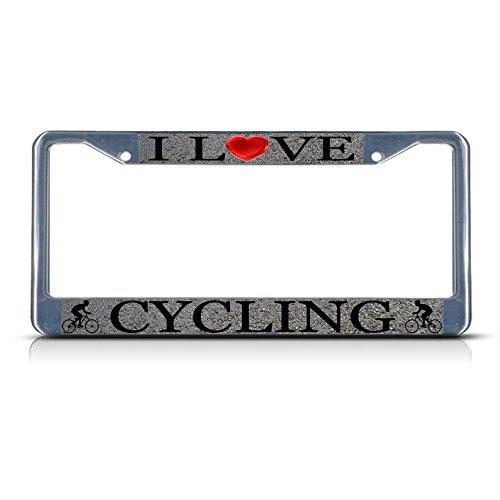 I Love Cycling Chrom-Metall-Kennzeichenrahmen, ideal für Männer und Frauen, Auto-Garadge-Dekor