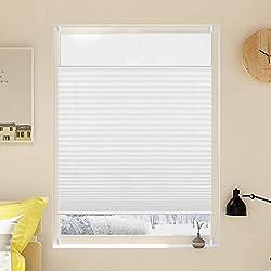 Grandekor Plissee Klemmfix Jalousie ohne Bohren 100x130cm (BxH) Weiß Verspannt Easyfix Klemmrollo Faltrollo Blickdicht Sichtschutz für Fenster und Tür