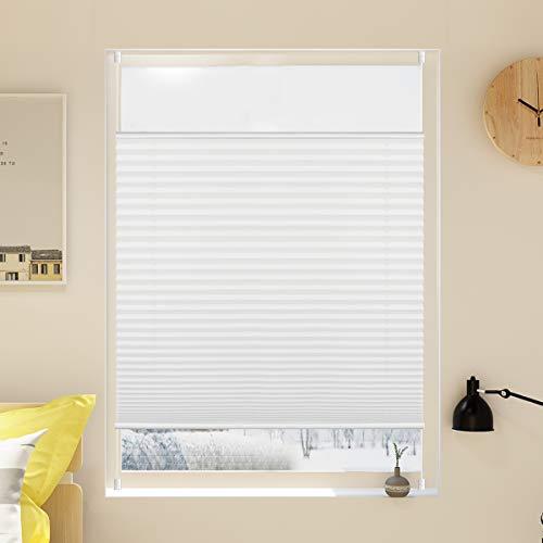 Grandekor Plissee Klemmfix Jalousie ohne Bohren 60x200cm (BxH) Weiß Verspannt Easyfix Klemmrollo Faltrollo Blickdicht Sichtschutz für Fenster und Tür