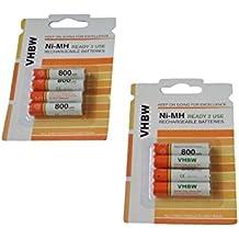 vhbw 8 x AAA, Micro, R3, HR03 batería 800mAh para Siemens Gigaset A510 Duo, A600A, A400, A420, A580, A585