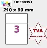 150Etiquetas adhesivas 210x 99mm para impresoras láser y de inyección de tinta–50hojas A4de 3etiquetas autoadhesivas 210x 99 mm para impresoras láser y de inyección de tinta–50hojas A4autoadhesivas. Ref. UGE003V1–IVA deducible