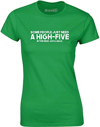 Brand88 - A High-Five, Gedruckt Frauen T-Shirt Grün/Weiß
