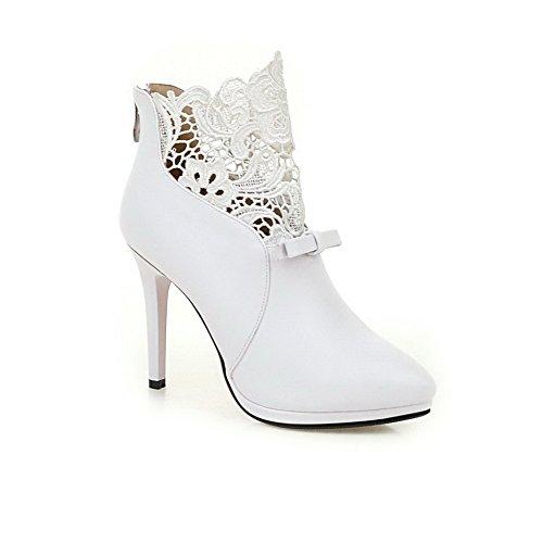 VogueZone009 Damen Niedrig-Spitze Schließen Zehe Blend-Materialien Hoher Absatz Stiefel Weiß
