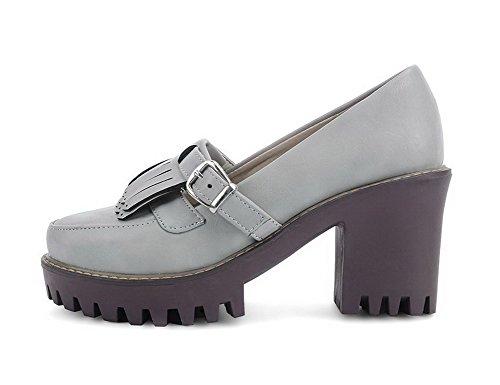 VogueZone009 Femme à Talon Haut Matière Souple Couleur Unie Tire Rond Chaussures Légeres Gris