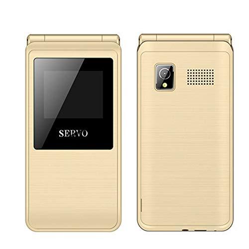 SERVO Flip Phone Englisch Tastatur Bluetooth FM Dual SIM Karte Handy GPRS Funktion Maschine Flip-Telefon Alter Mann Maschine (Gold)