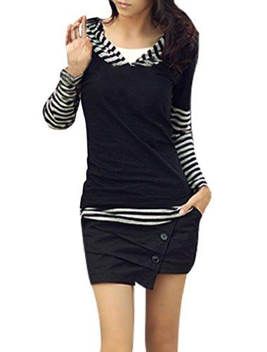 Allegra-K-Ladies-Casual-Long-Sleeve-Stripes-Pattern-Patchwork-Hooded-Shirt