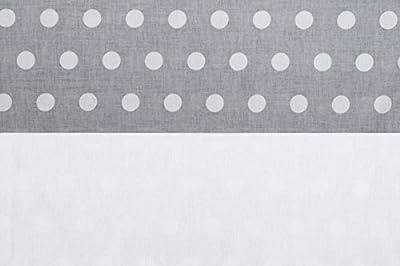 Vizaro - Edredón MINICUNA y Almohada - 100% Algodón Alta Calidad - Colección Lunares Blancos - Color Gris y Blanco - Controlado contra sustancias nocivas - Fabricado en la UE