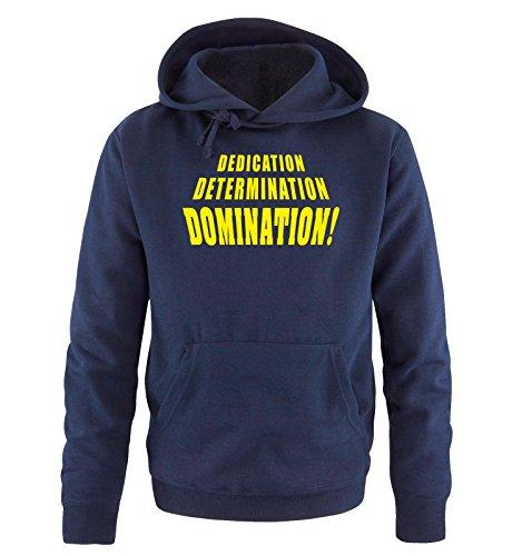 Comedy Shirts - DOMINATION - Uomo Hoodie cappuccio sweater - taglia S-XXL different colors blu navy / neon giallo