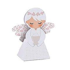Idea Regalo - 20 PEZZI Portaconfetti a forma di ANGELO ROSA COMUNIONE bambina scatolina carta BOMBONIERA
