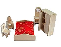 Mini Wooden Dollhouse Furniture Set, Bedroom