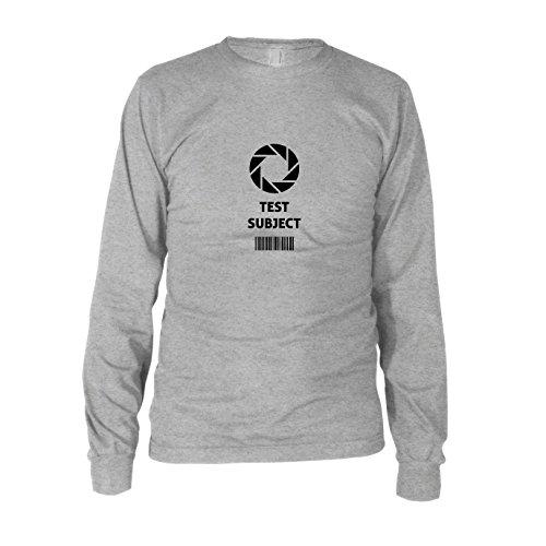 Aperture Test Subject - Herren Langarm T-Shirt, Größe: M, Farbe: grau meliert